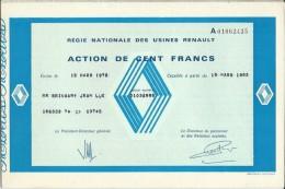Action De 100 Frs Régie Nationale Des Usines Renault 1983 - Automobile