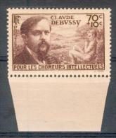 France -1939 - Claude Debussy 70 C.+ 10 C. Brun-lilas - Y&T N° 437 ** Neuf Luxe ( Gomme D´origine ) TB (2 Scans) - France