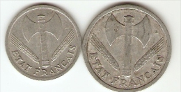 2 Monnaies France: 1, 2 Francs Type Bazor -  Anciens Francs - Vichy, Pétain - 1943, 1943 - M. 50 Francs