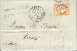 FRANCE -- Lettre N° 38 - 40 C. Orange ( Emission Dite Du Siège De Paris ) CERES - G C 6316 Càd LYON Pour VIVIERS - 1870 Assedio Di Parigi
