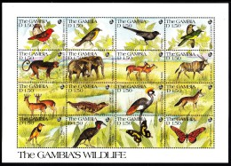 Gambia MNH Scott #1063 Sheet Of 16 1.50d Wildlife: Firefinch, Cuckoo, Monkey, Elephant, Oribi, Jackal, Butterflies - Gambie (1965-...)
