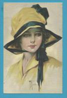 CPA 6676 Art Nouveau Art Déco Portrait Femme Chapeau Illustrateur Italien Italie - Illustrators & Photographers