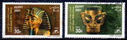 2001, Masques Funéraires, Commune Avec La Chine, YT 1707 + 8, Oblitéré, Lot 44499 - Egypt