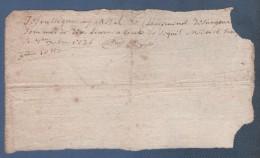 42 LOIRE - RECU DE DIX LIVRES DATE DE 1726 A SIERGOUX ( CIERGUES ) - Manuscripts