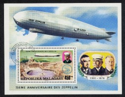 Zeppelins Madagascar Malagasy 1976  Scott # C160 Used  NH  Aviation Airships - Zeppelins