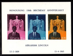 Ghana MH Scott #41a Souvenir Sheet Of 3 150th Birth Anniversary Abraham Lincoln - Ghana (1957-...)