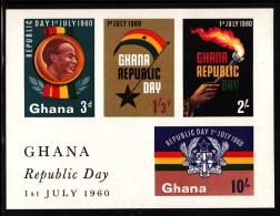 Ghana MNH Scott #81a Souvenir Sheet Of 4 Declaration Of The Republic - Ghana (1957-...)