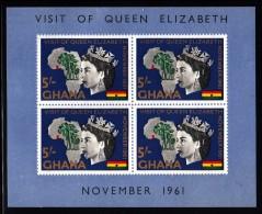 Ghana MNH Scott #109a Souvenir Sheet Of 4 5sh Queen Elizabeth II, Map Of Africa - Royal Visit - Ghana (1957-...)