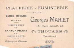 """TOUARS - Carte De Visite, Platerie-Fumisterie """"Georges MAHIET"""" 15 Place Lavault  - Timbres Fiscaux  -  Voir Description - Cartes De Visite"""