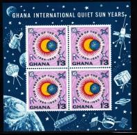 Ghana MNH Scott #166a Souvenir Sheet Of 4 1sh3p International Quiet Sun Year - Ghana (1957-...)