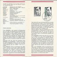BELGIE 1641 °  NR 15 - 1972 21/10/1972  FRANS MASEREEL - Documents De La Poste