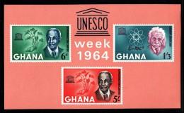 Ghana MNH Scott #191a Souvenir Sheet Of 3 G W Carver, Einstein - Human Rights Day - UNESCO Week - Ghana (1957-...)