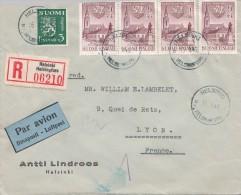 LETTRE FINLANDE  COVER FINLAND 1949. RECOMMANDÉE PAR AVION. HELSINKI - LYON FRANCE /CLASSEUR FINLANDE 32T - Briefe U. Dokumente