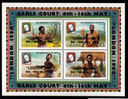 Ghana MNH Scott #718 Souvenir Sheet Of 4 Sir Rowland Hill 100th Anniversary Of Death Overprint: 'London 1980' - Ghana (1957-...)