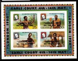 Ghana MNH Scott #718 Imperf Souvenir Sheet Of 4 Sir Rowland Hill 100th Anniversary Of Death Overprint: ´London 1980´ - Ghana (1957-...)