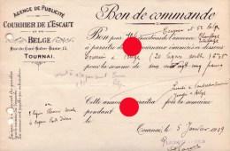 TOURNAI 1909 COURRIER DE L' ESCAUT - Imprimerie & Papeterie