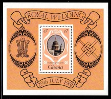 Ghana MNH Scott #762 Souvenir Sheet 7ce St. Paul's Cathedral - Royal Wedding Charles And Diana - Ghana (1957-...)