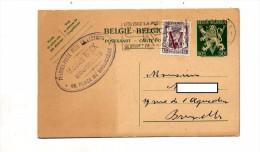 Carte Postale 50 C Lion + Timbre Surcharge V Flamme  Poste Aerienne - Enteros Postales