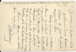 """1874 - VIENNE - CARTE PRECURSEUR ENTIER Avec REPIQUAGE PRIVE """"IMPRIMERIE TYPOGRAPHIQUE"""" à CIVRAY - Marcophilie (Lettres)"""