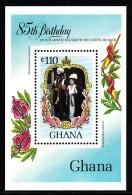 Ghana MNH Scott #964 Souvenir Sheet 110ce Prince Charles, Queen Mother - Queen Mother's 85th Birthday - Ghana (1957-...)