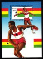 Ghana MNH Scott #1063 Souvenir Sheet 500ce Discus - 1988 Summer Olympics, Seoul - Ghana (1957-...)