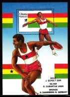 Ghana MNH Scott #1089 Souvenir Sheet 500ce Discus With Overprint Of Winners - 1988 Summer Olympics, Seoul - Ghana (1957-...)