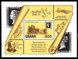 Ghana MNH Scott #1208 Souvenir Sheet 600ce The Bath Mail Coach - Penny Black 150th Anniversary - Ghana (1957-...)