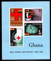 Ghana MNH Scott #142a Souvenir Sheet Of 4 International Red Cross Centenary - Ghana (1957-...)