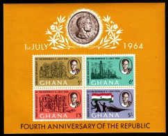Ghana MNH Scott #170a Souvenir Sheet Of 4 4th Anniversary Of The Republic - Ghana (1957-...)