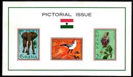 Ghana MNH Scott #194a Souvenir Sheet Of 3 Secretary Bird, Elephant, Purple Wreath - Ghana (1957-...)