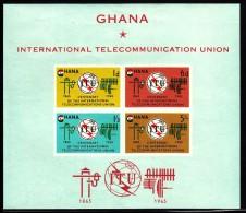 Ghana MNH Scott #207a Souvenir Sheet Of 4 ITU Centenary - Ghana (1957-...)