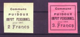 818 - PUIDOUX - Fiskalmarken - Steuermarken