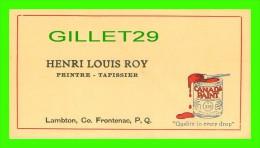 CARTES DE VISITE - HENTI LOUIS ROY, LAMBTON, CO FRONTENAC, QUÉBEC - WHITE LEAD, ELEPHANT - - Cartes De Visite