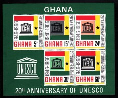 Ghana MNH Scott #268a Souvenir Sheet Of 5 UNESCO 20th Anniversary - Ghana (1957-...)