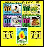 Ghana MNH Scott #449a Souvenir Sheet Of 5 International Book Year - Spot - Ghana (1957-...)