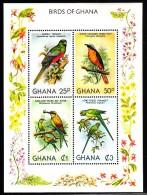 Ghana MNH Scott #750 Souvenir Sheet Of 4 Birds: Narina Trogon, Robin-chat, Bee-eater, Parakeet - Ghana (1957-...)