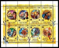 Ghana MNH Scott #1463 Souvenir Sheet Of 8 500th Anniversary Columbus' Discovery Of America - Ghana (1957-...)