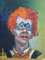 Peinture, Tableau, Huile Sur Toile, Le Clown - Olieverf