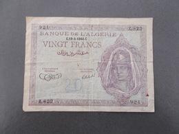 BANQUE DE L'ALGERIE.VINGT FRANC.1944 - Argelia