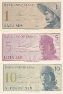 Lot 3 Banknote : 1 5 10 Sen (FDC) - Indonésie