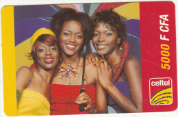 BURKINA FASO - 3 Girls, Celtel Prepaid Card 5000 F CFA, Exp.date 31/12/04, Used - Burkina Faso