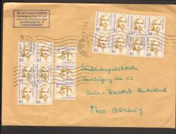 BRD Dauerserie Frauen 17 X 10 Pfg Auf Fernbrief Mi.Nr.1359, Dabei 6er Block - Lettres & Documents