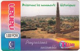 BURKINA FASO - Preservons Les Monuments Historiques, Telemob By Onatel Prepaid Card 1000 FCFA, Used - Burkina Faso