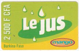 BURKINA FASO - Le Jus, Mango Prepaid Card 2500 F CFA, Exp.date 29/04/07, Used - Burkina Faso