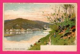 Lithographie J.L. GOFFART - Hastière - La Meuse - Le Pont - Animée - Dessin F. RANOT - Hastiere