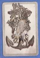 Sehr Schöne Alte Maritime Glückwunschkarte Silbermetalic (Ausklappbar), 1890? - Mitteilung