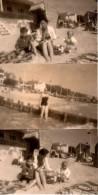 Lot De 3 Photos Originales Plage Et Maillot De Bains - Mère Et Enfants à La Plage - Cabines En Osier - Femme En Maillot - Objetos