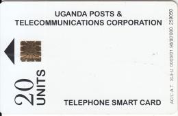 UGANDA(chip) - White Card(20 Units), Tirage 80000, 01/98, Used - Uganda