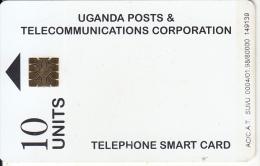 UGANDA(chip) - White Card(10 Units), Tirage 80000, 01/98, Used - Uganda