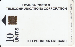 UGANDA(chip) - White Card(10 Units), Tirage 80000, 01/98, Used